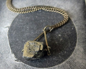 Pyrite Crystal Pendant Necklace