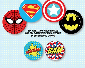 Superhero Comic Book Cupcake Topper and Large Circle Printables
