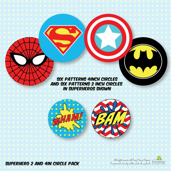 Adaptable image with superhero cupcake toppers printable