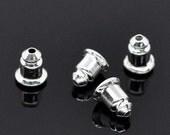 300pcs Whoelsale Earring Backs - Metal Earring Backs - Silver Barrel Nut Bullet Stoppers - Bulk Lot Silver Metal Ear Ring Backs Ear Nuts
