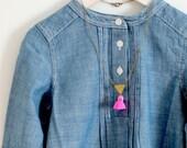 Girls Pink Tassel Necklace