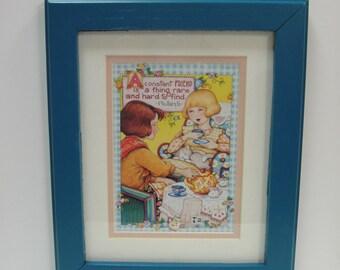 Mary Engelbreit - FRIEND, Friendship, Tea Party, Girlfriends - Upcycled FRAMED ART - Bright Blue Frame