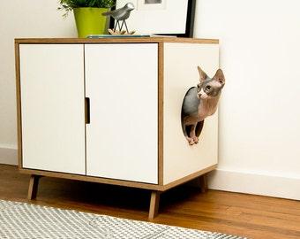 White Standard Cabinet Mid Century Modern Pet