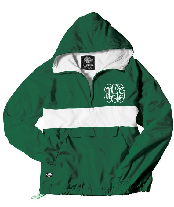 Monogrammed Personalized Forest Green w/ White Stripe Quarter