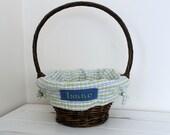 Large Easter Basket Liner -- Green/Blue Plaid -- Free Monogram -- Free Domestic Shipping