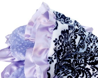 Toddler Size Black and White Damask Minky Baby Blanket with lavender dot minky back and satin ruffle trim