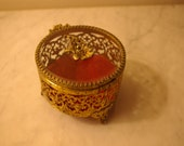 Round Hollywood Regency dressing table jewelry box