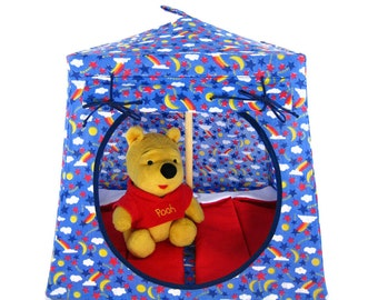 Toy Pop Up Tent, Sleeping Bags, blue, rainbow & star print fabric for dolls, action figures or stuffed animals