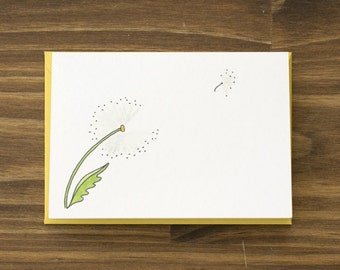 dandelion yellow note card