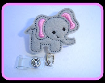 Cute Badge Holder Retractable badge reel - Elephant Love - grey felt elephant - nurse teacher professionals