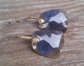 Blue Sapphire and Diamond gold earrings