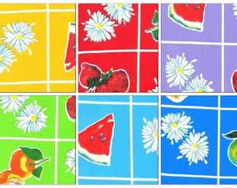 OilclothByTheYard Fruit and Daisy   Your choice of Color