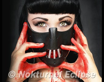Black Hannibal Lecter Mask Silence of the Lambs Horror Fetish Masquerade Cosplay Halloween BDSM Costume UNISEX - Available Any Basic Color