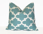 Aqua Blue Pillow Cover.Throw Pillows.ONE pillow cover.Fynn.Cushion Cover.Decorator Pillow.18x18 inch.Premier Prints Moroccan ALL SIZES