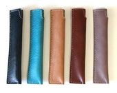 Hand stitched leather PEN SLEEVE CASE (Free Monogram)