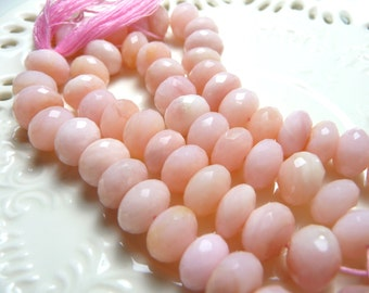 Creamy pink peruvian opals faceted rondelles - 3 inches of creamy, rich stones