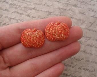 glitter pumpkin stud earrings