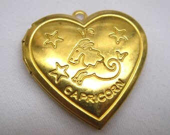 1pc Zodiac Charm Capricorn Heart Photo Locket Necklace Pendant 29mm Brass Findings p023