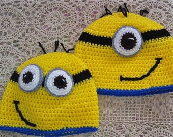 Despicable Me Inspired Hat - Minion Hat - One and Two Eye Minion