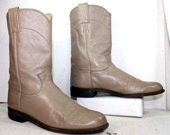 Vintage Justin Roper cowboy mid calf womens tan bone cow boy cow girl Leather western fashion boots 9 B M