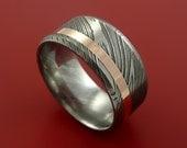 Damascus Steel Wide 14K Rose Gold Ring Wedding Band Custom Made