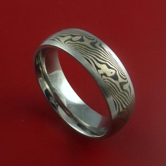 Titanium and 14K White Gold Mokume Ring Custom Made to Any Size