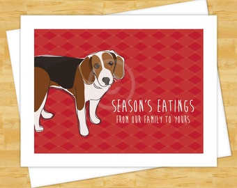 Dog Cards - Seasons Eatings with Beagle - Funny Christmas Cards Happy Holidays