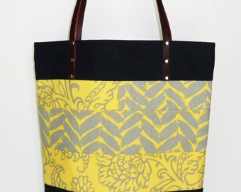Large Tote in Yellow and Gray,  Dark Blue Denim Trim,  Leather Straps