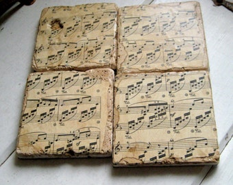 Classical Music Coasters, vintage sheet music on tumbled tiles set of four  4 x 4 inches
