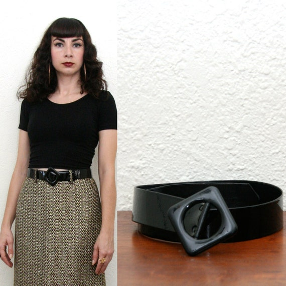 Vintage 60s Black Patent Belt