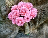 Rustic  - Pink and Burlap  Wedding Bouquet - Paper Bouquet - Customize your Style and Colors - Made To Order