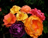 MIX Flowers - Handmade Paper Flowers -Set of 7 - On stems - Made to Order - Customize your style and colors