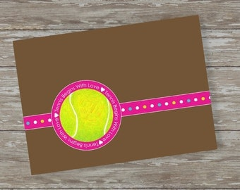 Set of 6 - 5 x 7 FLAT Tennis note cards with envelopes-Begins with LOVE