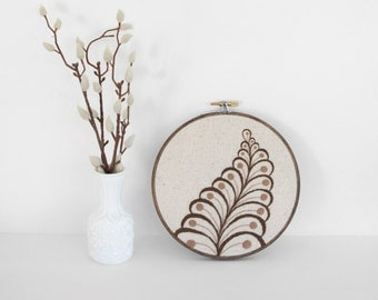 "Embroidery Hoop Neutral Botanical Art. Abstract Leaf Fiber Art. Embroidery Hoop Art of Brown and Tan Leaf Design in 6"" Hoop For the Home"