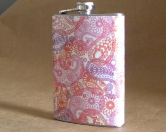 Bridesmaids Gift Pink and Orange Paisley Print Bachelorette Party 21st Birthday Stainless Steel 8 ounce Gift Flask KR2D 6731