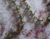 Bead Chain Green 4mm Fire Polished Glass Beads on Brass Beaded Chain - Qty 18 Inch strand