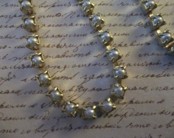Pearl Cup Chain White Glass Czech Pearls 3mm 24PP 12SS Cup Chain in Brass Setting - Qty 36 inch strand