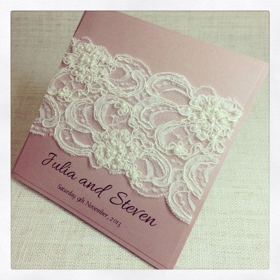 Items Similar To SAMPLE Ivory And Pink French Lace Wedding