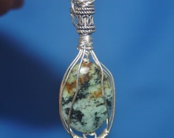 Turquoise Gemstone Sterling Silver Wire Wrapped Sculpted Handcrafted Pendant Lovely Gift