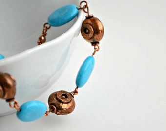 Copper and Turquoise Bracelet, Turquoise Bracelet, Copper Bracelet, Blue Stone Bracelet, Boho Jewelry