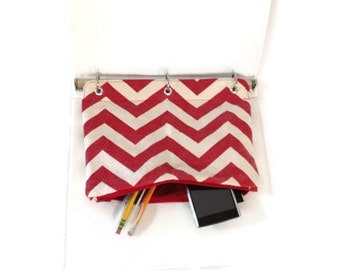 Binder Pencil Case Red Chevron Organizing Case for 3 Ring Binder  Back to School Ready to Ship School Supplies Kids Gift