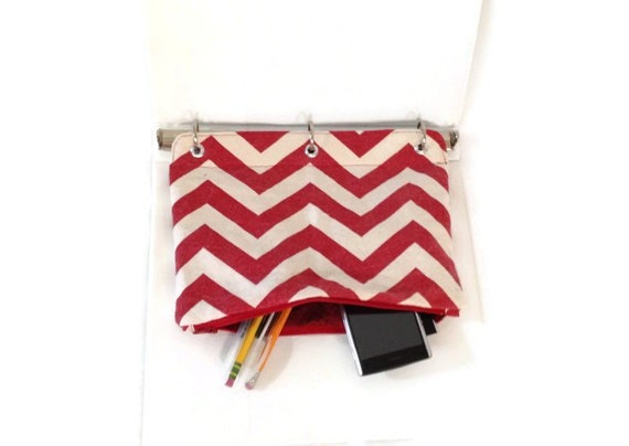 binder pencil case red chevron organizing case for 3 ring