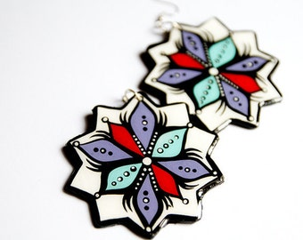 Large Hand Painted Modern Aqua, Red and Lavender Star-Bursts Earrings