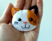 Calico Cat Brooch Felt Kawaii Kitty Kitten Pin Feline Orange Black White Made to Order