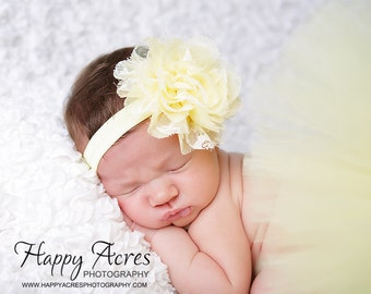 SOFT YELLOW TUTU....newborn tutu, baby tutu with shabby headband, newborn photography prop