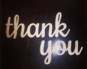 "Laser Cut Wooden Thank You Sign 28"" Wide"