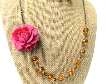 Pink Flower Necklace Pink Yellow Jewelry Topaz Statement Necklace Bridesmaid Jewelry Statement Necklace Floral Necklace Yellow Necklace