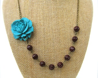 Statement Flower Necklace Brown Jewelry Teal and Brown Necklace Bridesmaid Jewelry Wedding Jewelry