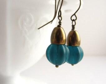 Teal Drop Earrings Vintage Czech Glass Bead Earrings Fall Fashion