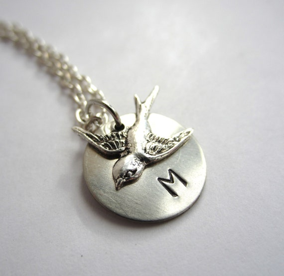 Custom Initial Necklace Personalized Jewelry Bird Necklace Initial Jewelry Sparrow Necklace Personalized Necklace